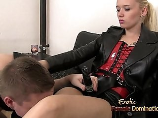 Slave Sucks His Mistresses Big Strap-on