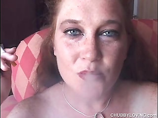 Shy chubby babe loves talking dirty during a smoke break