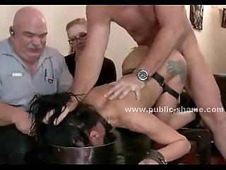 Slut fucked in a bdsm public sex video