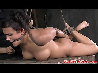 Restrained bondage sub tied up