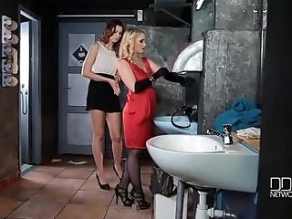 Restroom Humiliation Dominatrix Crams Sub s Pussy With Bottle