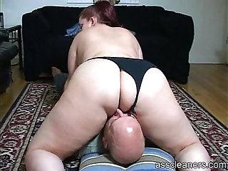 Chubby mistress sits her big fat ass on a man's face