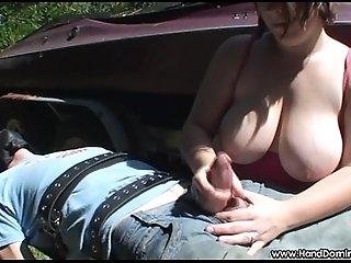 shows off her huge tits in public handjob