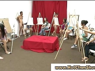 Clothed sluts give guys blowjobs untill they cum in art class