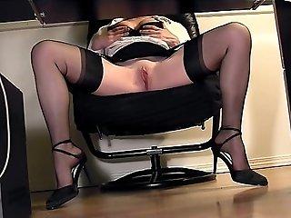 Leggy secretary under desk voyeur cam masturbation