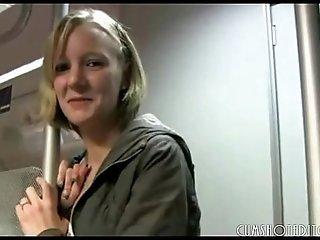 Cute Blonde German Amateur Blowjob In Train